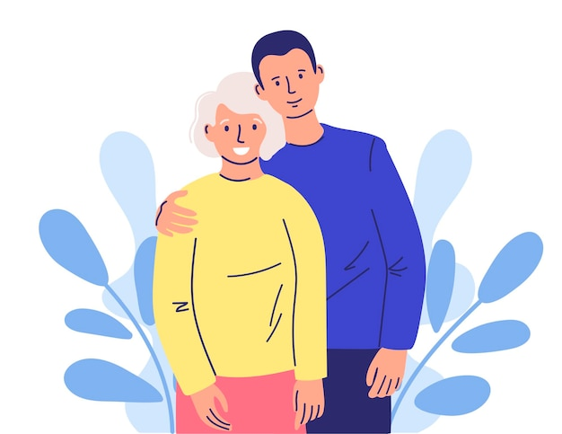 원하는 사람에 대한 관심 행복한 성인 아들은 서로 사랑을 느끼는 늙은 어머니를 껴안습니다.