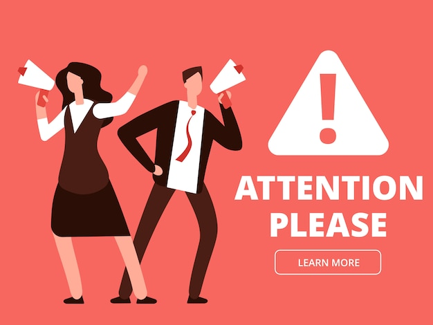 Attention vector banner or web page template with cartoon man and woman with megaphones