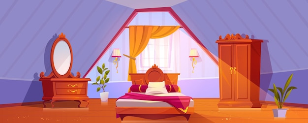 屋根裏部屋の寝室または客室のインテリアマンサード床