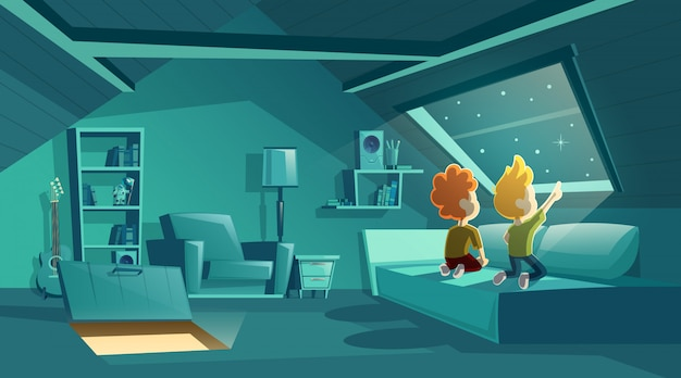 Чердак интерьер ночью с двумя детьми, наблюдая за звездами, мультфильм комната с мебелью