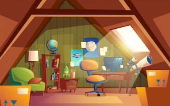Attic interior, children playroom with furniture. Cozy room under roof with telescope