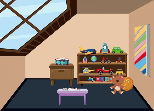 An attic playroom background