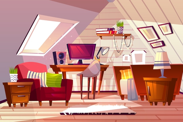 Attic room interior illustration. cartoon garret design background of girl bedroom or living