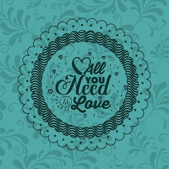 Attitude phrase about love inside frame icon. Inspiration motivation and positive theme. Ornamental