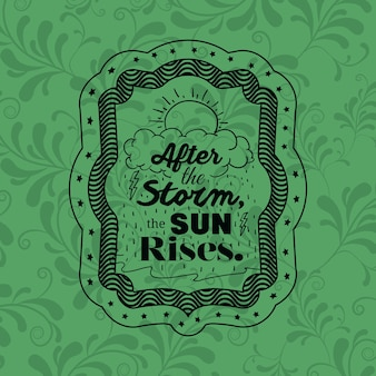 Attitude phrase about storm sun and rises inside frame icon. Inspiration motivation and positive the