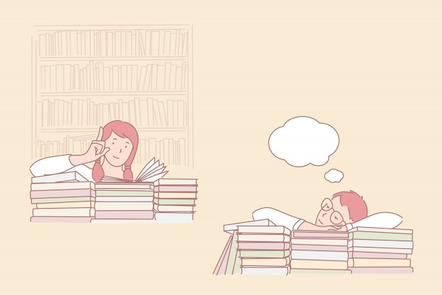 Attitude to study, passion for learning and daydreaming illustration