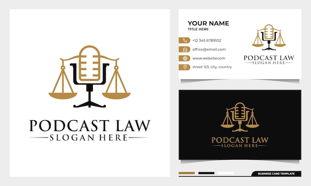 Адвокат и закон, правосудие, подкаст, микрофон, дизайн логотипа с шаблоном визитной карточки
