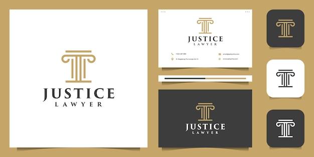 Attorney law justice logo illustration vector graphic set