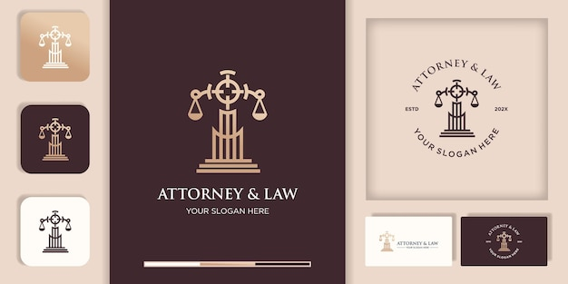 Attorney and law logo design, target pole, and business card design