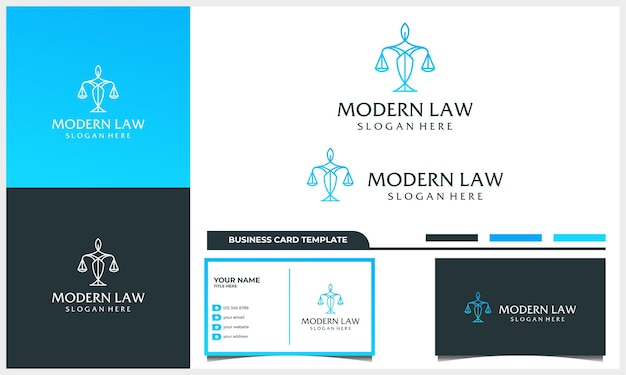 Attorney law logo design with line art concept and business card template