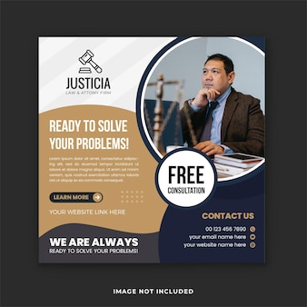 Attorney  legal services social media template design and lawyer law firm banner template