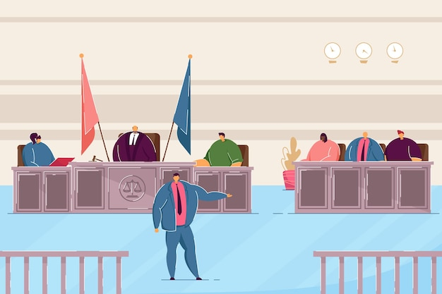 Attorney speaking in courtroom. judge and lawyers making judgement in trial flat vector illustration. justice, law concept for banner, website design or landing web page