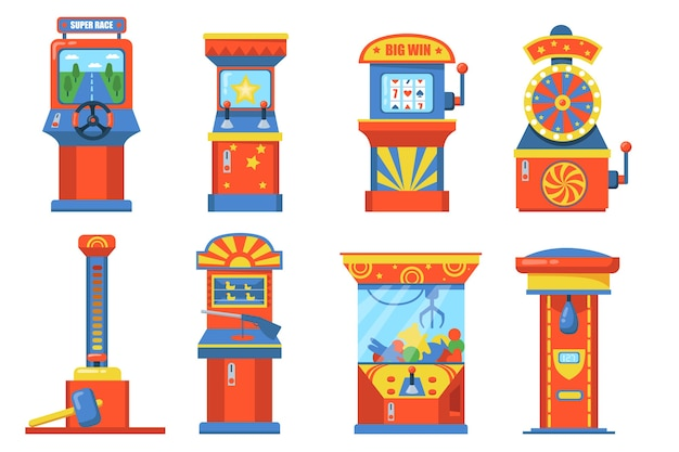 Attraction park devices with slot flat illustration set. cartoon game machines with basket, punching bag, wheels and soft toys isolated vector illustration collection. gambling and fun concept