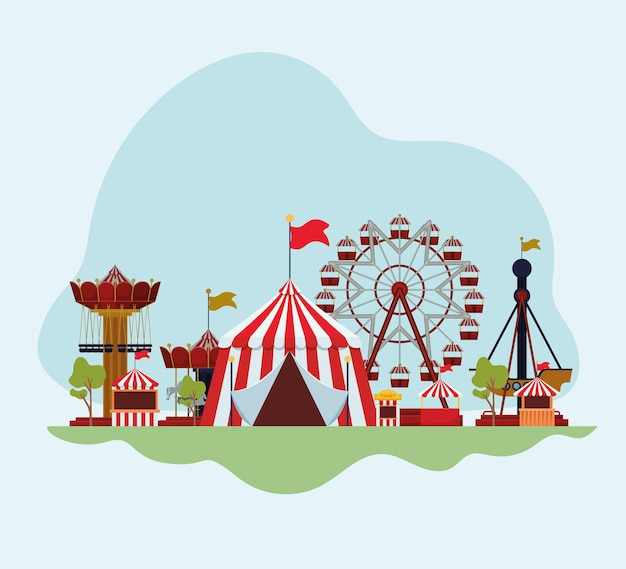 Attractions and fair illustration