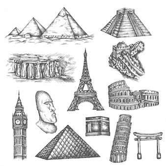 Attractions of the world in sketch style.