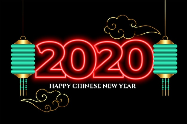 Attractive 2020 neon style happy chinese new year