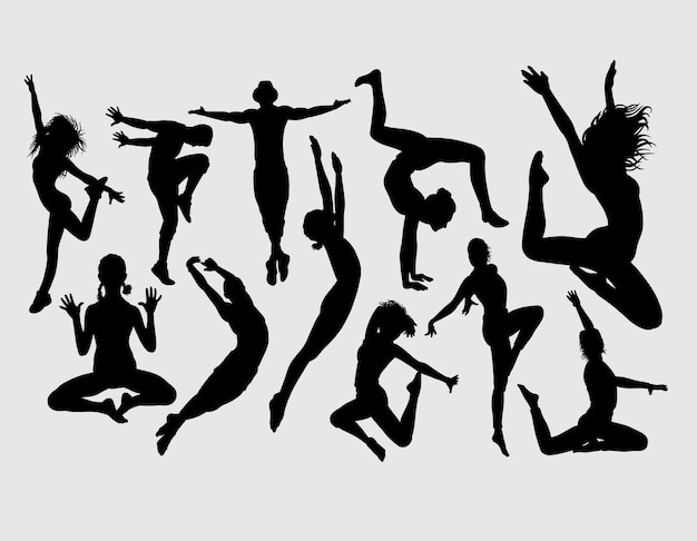 Attractive aerobic dance silhouette