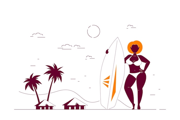 Attractive african american woman plus size on beach holding a surfboard. summer female body positive concept. flat style line art illustration.