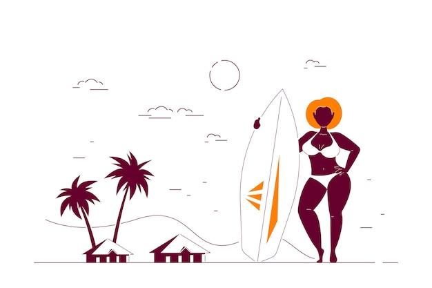 サーフボードを保持しているビーチで魅力的なアフリカ系アメリカ人の女性プラスサイズ。夏の女性のボディポジティブコンセプト。フラットスタイルの線画イラスト。