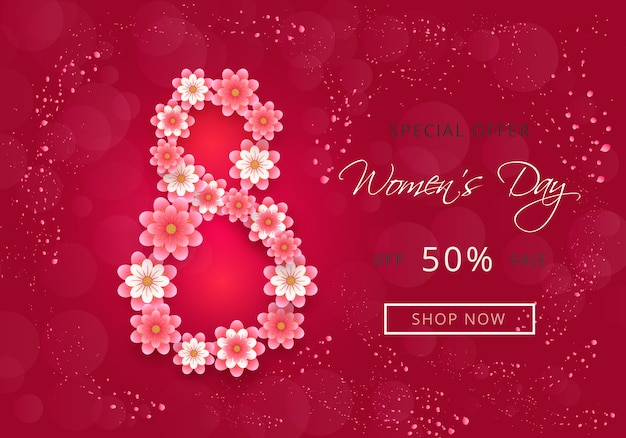 Attractive banner design for womens day sale with paper-cut flowers and pink