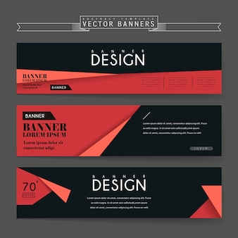 매력적인 배너 종이 접기 요소와 템플릿 디자인 설정