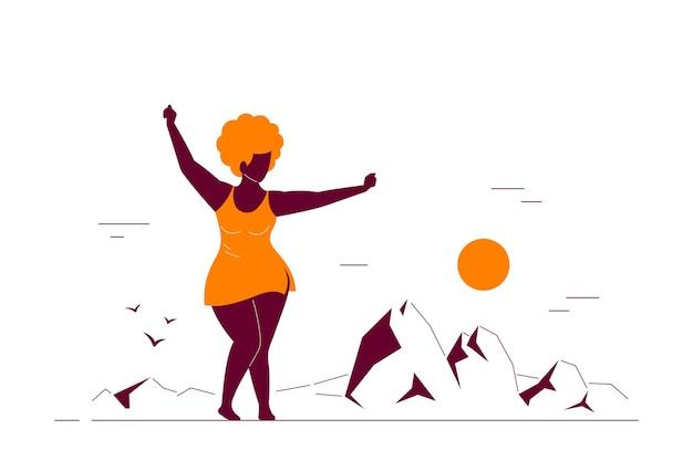 매력적인 흑인 여성 플러스 크기 해변에서 춤을. 신체 긍정적, 여름 해변 파티 개념. 플랫 스타일 라인 아트 그림