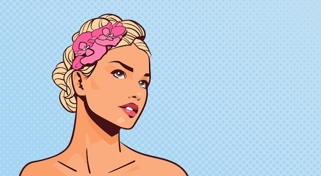 Attractive blonde woman looking up portrait of beautiful girl on pinup retro background with copyspace