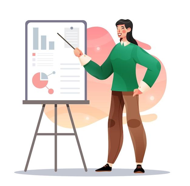 프레젠테이션을 하는 매력적인 비즈니스 교사 여성 플립 차트를 보여주는 사업가