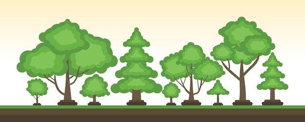 매력적인 만화 나무 벡터 배경으로 설정