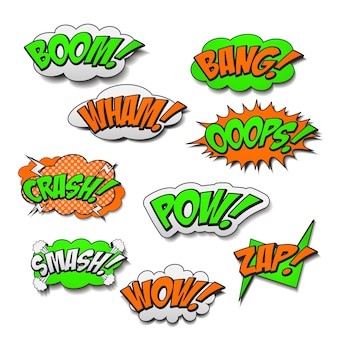 Attractive colorful comic sound effects set over white background