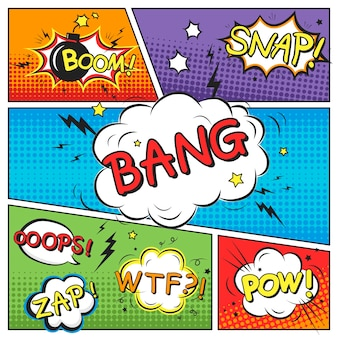 Attractive comic sound effect set  on colorful comic strip template