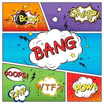 Привлекательный комический звуковой эффект на красочном шаблоне комикса