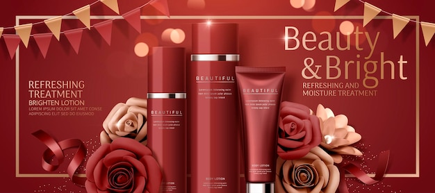 Attractive cosmetic banner   with paper roses