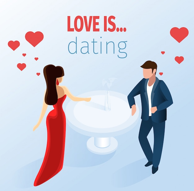 Attractive couple dating restaurant illustration