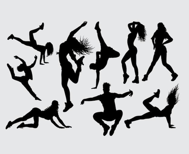 魅力的なダンスとスポーツのシルエット