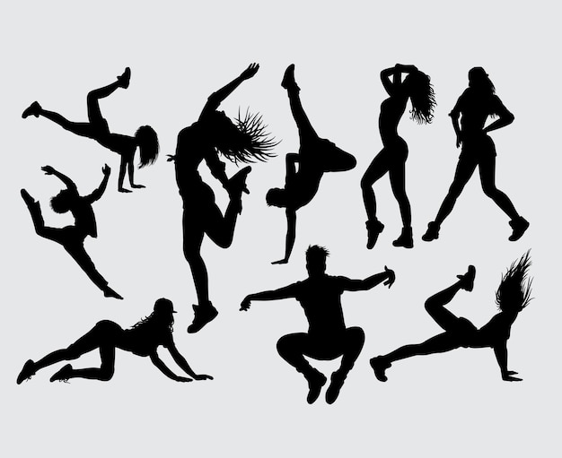 Attractive dancing and sport silhouette