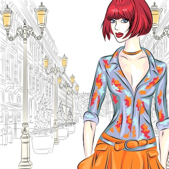 Attractive fashion girl in sketch-style on a wide street with lanterns in st. petersburg