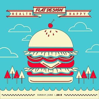 フラットラインデザインの巨大なハンバーガーと魅力的なファーストフードレストランメニュー