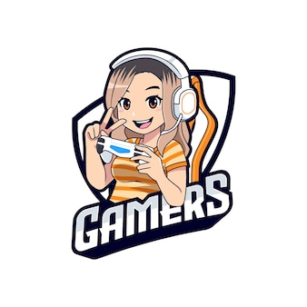 Attractive female gamer character esport logo template