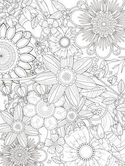 絶妙なラインの魅力的な花の着色ページのデザイン