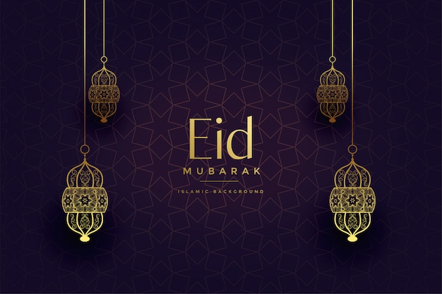 Attractive golden islamic lanterns eid festival background