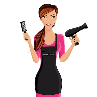 Attractive happy girl hairdresser with comb and hair dryer portrait isolated on white background vector illustration.
