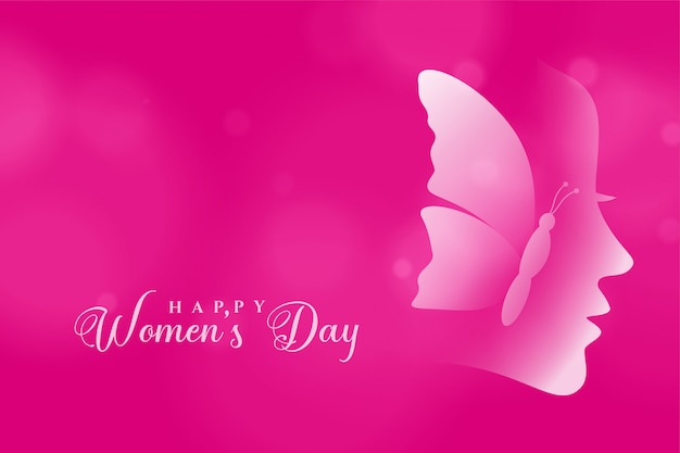 Attractive happy womens day pink greeting card