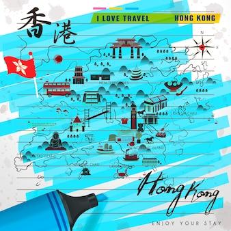 형광펜이 있는 메모지의 매력적인 홍콩 여행 지도 - 왼쪽 상단의 중국어 단어로 된 홍콩 여행