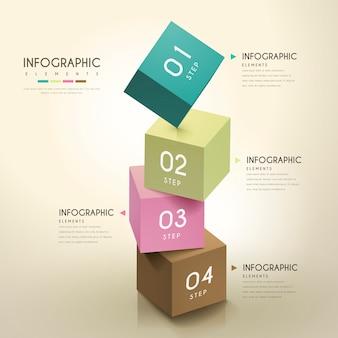 3dキューブ要素を備えた魅力的なインフォグラフィックデザイン