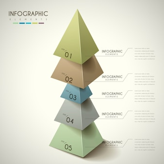 Attractive infographic design with 3d triangles elements