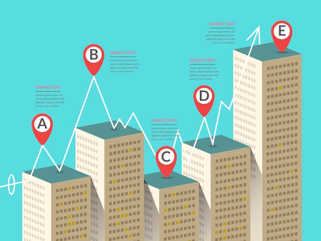 Attractive infographic design with business buildings elements