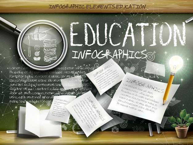 Attractive infographic element over blackboard background with magnifying glass, paper and pen