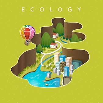 魅力的なアイソメトリック-エコロジーのコンセプト