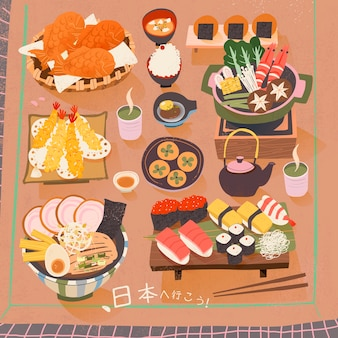 Attractive japan delicacy poster let's go to japan in japanese